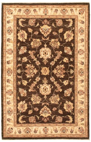 Bordered  Traditional Brown Area rug 3x5 Afghan Hand-knotted 336865