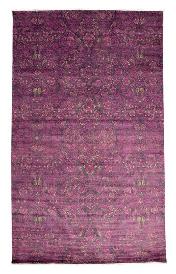 Casual  Transitional Pink Area rug Unique Pakistani Hand-knotted 345146