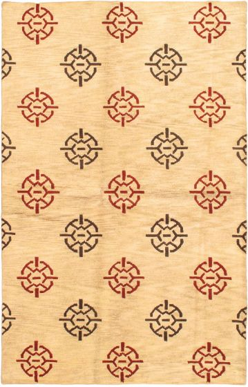 Transitional Ivory Area rug 5x8 Nepal Hand-knotted 29688