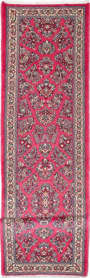 Traditional Pink Runner rug 12-ft-runner Persian Hand-knotted 218044