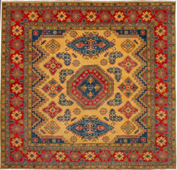Bordered  Traditional Ivory Area rug Square Afghan Hand-knotted 272519