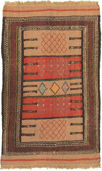 Bordered  Tribal Brown Area rug 3x5 Turkish Flat-weave 334957