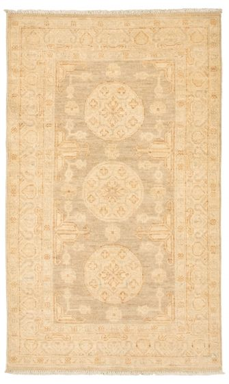 Bordered  Traditional Grey Area rug 3x5 Pakistani Hand-knotted 338754