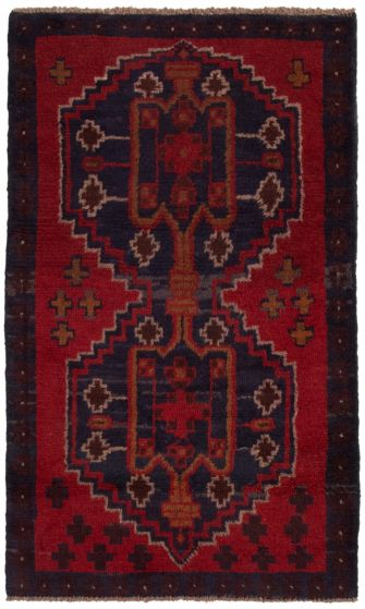 Bordered  Tribal Red Area rug 3x5 Afghan Hand-knotted 360576