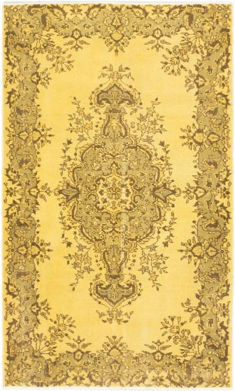 BohemianTransitional Yellow Area rug 4x6 Turkish Hand-knotted 166263
