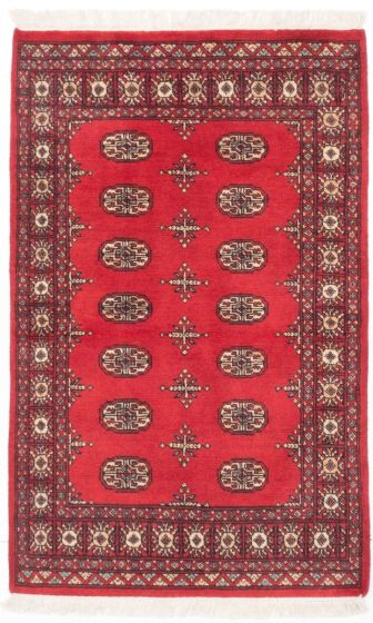 Traditional Red Area rug 3x5 Pakistani Hand-knotted 204948
