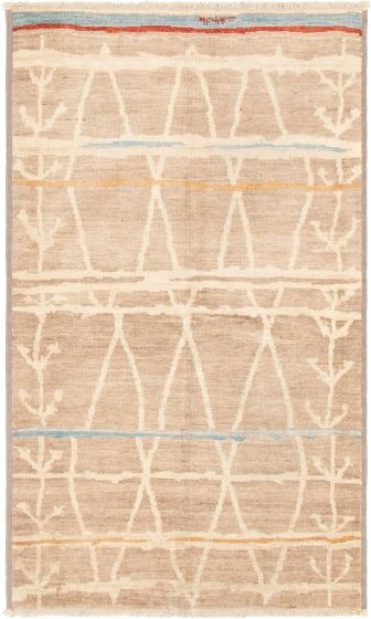 Casual  Transitional Brown Area rug 5x8 Indian Hand-knotted 292859