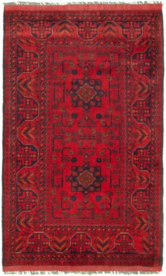 Bordered  Tribal Red Area rug 3x5 Afghan Hand-knotted 330260