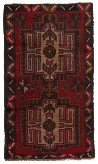 Bordered  Tribal Red Area rug 3x5 Afghan Hand-knotted 357177