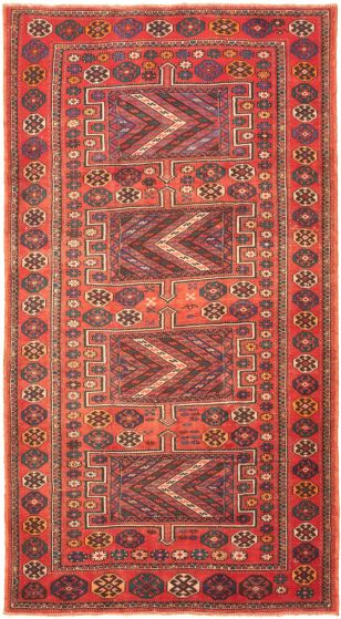 Bordered  Tribal Brown Area rug Unique Turkish Hand-knotted 320188