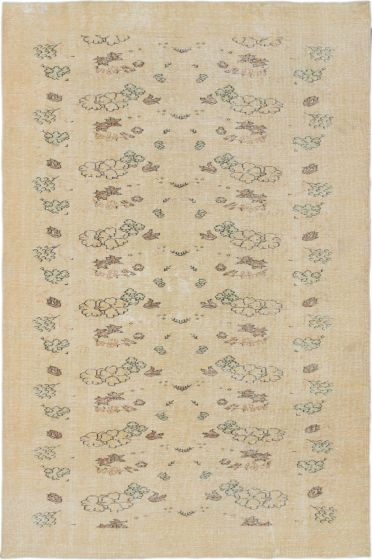 Traditional Yellow Area rug 6x9 Turkish Hand-knotted 186974