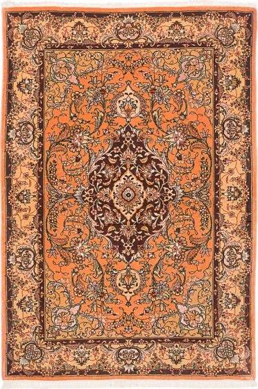 Traditional Orange Area rug 3x5 Persian Hand-knotted 203985