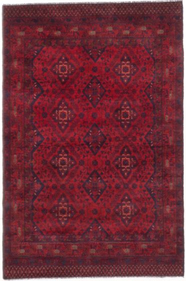 GeometricTribal Red Area rug 3x5 Afghan Hand-knotted 204609