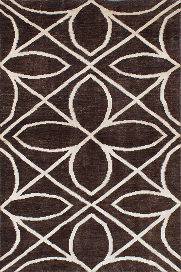 Transitional Brown Area rug 5x8 Indian Hand-knotted 221995