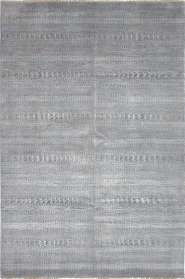 Transitional Grey Area rug Unique Indian Hand-knotted 223779