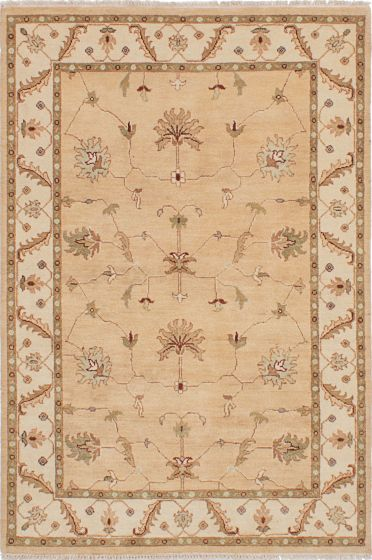 Traditional Ivory Area rug 3x5 Indian Hand-knotted 223814
