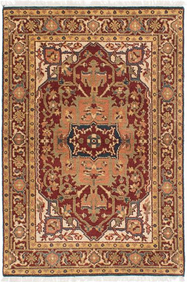 Traditional Red Area rug 3x5 Indian Hand-knotted 224020
