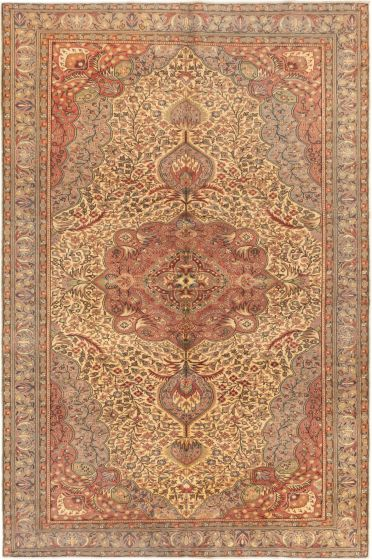 Bordered  Traditional Ivory Area rug 6x9 Turkish Hand-knotted 280943