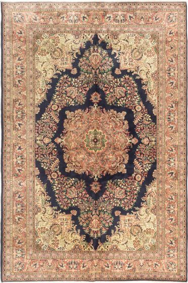 Bordered  Traditional Blue Area rug 6x9 Turkish Hand-knotted 281062