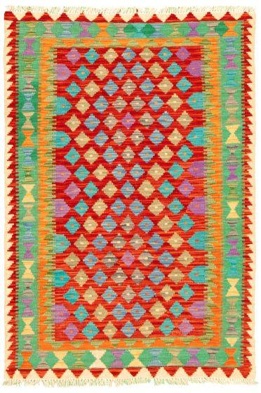 Bordered  Geometric Multi Area rug 3x5 Turkish Flat-weave 330194