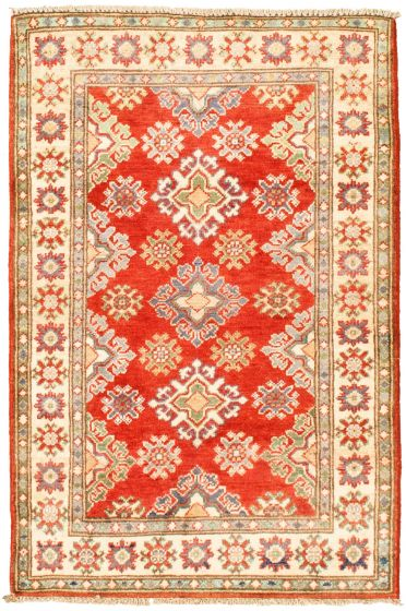 Bordered  Traditional Red Area rug 3x5 Afghan Hand-knotted 330266