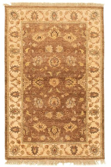 Bordered  Traditional Brown Area rug 3x5 Afghan Hand-knotted 331273