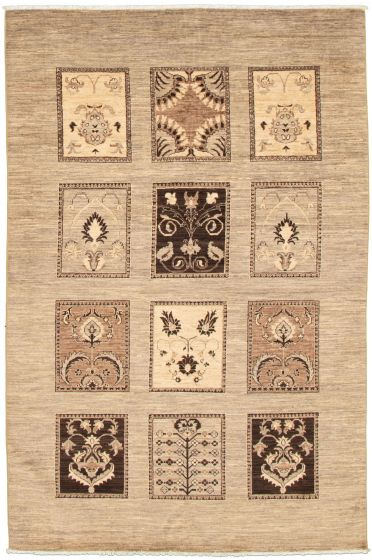 Casual  Transitional Grey Area rug 5x8 Pakistani Hand-knotted 339020