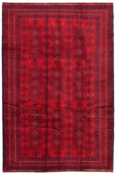 Bordered  Tribal Red Area rug 5x8 Afghan Hand-knotted 342475