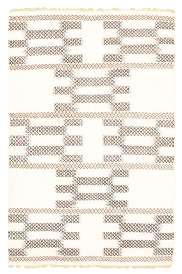 Flat-weaves & Kilims  Transitional Ivory Area rug 4x6 Indian Flat-weave 344514