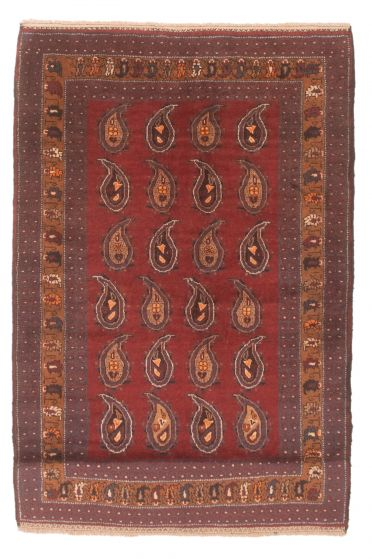 Bordered  Tribal Red Area rug 3x5 Afghan Hand-knotted 348618