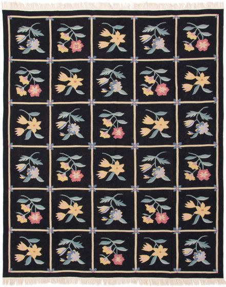 Flat-weaves & Kilims  Transitional Black Area rug 6x9 Chinese Flat-weave 286655