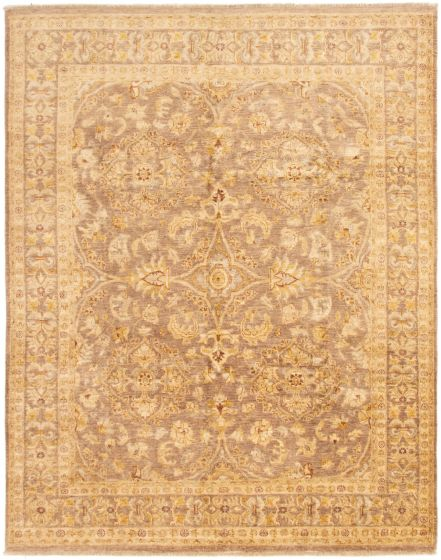 Bordered  Traditional Brown Area rug 6x9 Pakistani Hand-knotted 292884