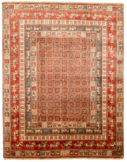 Tribal Red Area rug 6x9 Indian Hand-knotted 313338