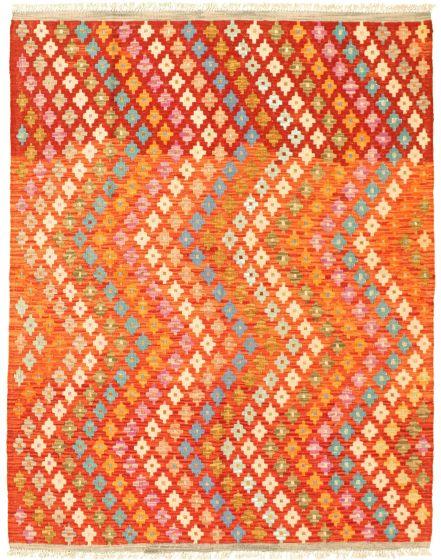 Flat-weaves & Kilims Red Area rug 4x6 Turkish Flat-weave 330037
