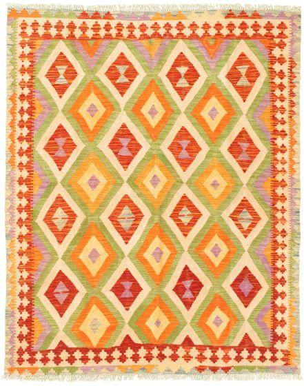 Bordered  Geometric Ivory Area rug 4x6 Turkish Flat-weave 330048