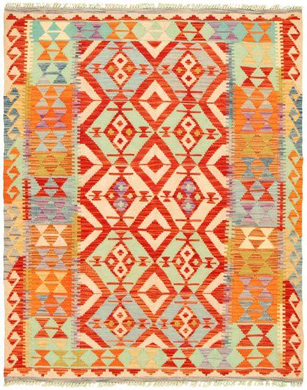 Bordered  Flat-weaves & Kilims Red Area rug 4x6 Turkish Flat-weave 330166