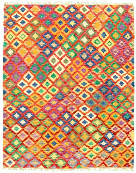 Bordered  Geometric Multi Area rug 4x6 Turkish Flat-weave 330251
