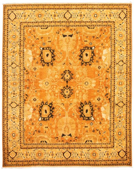 Bordered  Traditional Orange Area rug 9x12 Afghan Hand-knotted 330590
