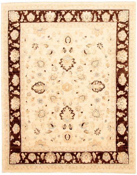 Bordered  Traditional Ivory Area rug 6x9 Pakistani Hand-knotted 330594
