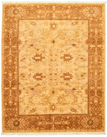 Bordered  Traditional Ivory Area rug 6x9 Afghan Hand-knotted 330639
