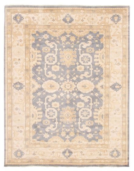 Bordered  Traditional Blue Area rug 9x12 Indian Hand-knotted 344857