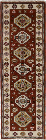 Bordered  Tribal Brown Runner rug 8-ft-runner Indian Hand-knotted 233079