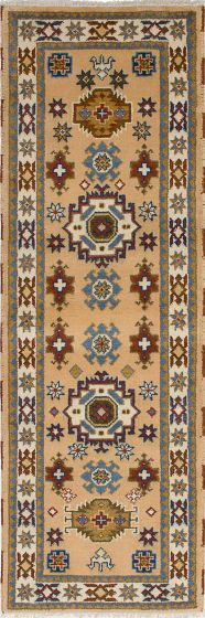 Traditional Ivory Runner rug 8-ft-runner Indian Hand-knotted 233343