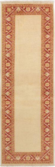 Bordered  Traditional Ivory Runner rug 6-ft-runner Afghan Hand-knotted 280183