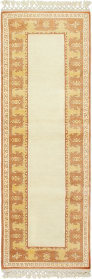 Bordered  Traditional Ivory Runner rug 9-ft-runner Turkish Hand-knotted 293498