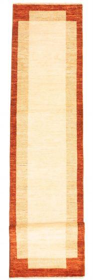 Bordered  Transitional Ivory Runner rug 14-ft-runner Pakistani Hand-knotted 331636