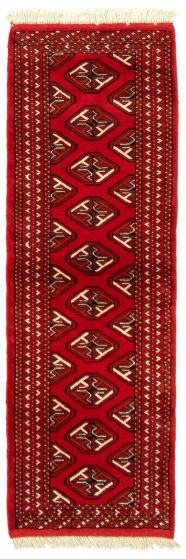 Bordered  Tribal Red Runner rug 6-ft-runner Turkmenistan Hand-knotted 332285