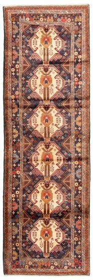 Bordered  Tribal Blue Runner rug 10-ft-runner Afghan Hand-knotted 342457