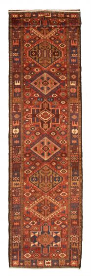 Bordered  Traditional Brown Runner rug 14-ft-runner Persian Hand-knotted 358640