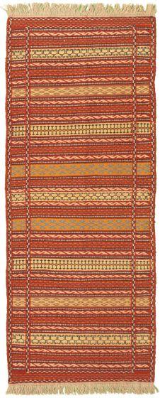 Bordered  Stripes Brown Runner rug 7-ft-runner Turkish Flat-weave 334960